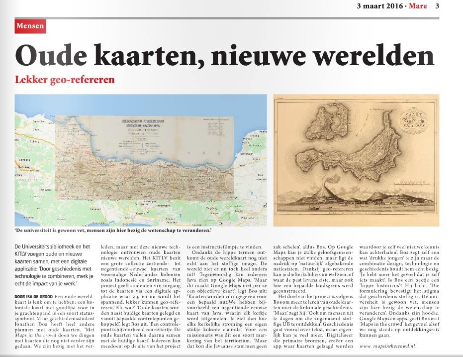 Maps in the crowd featured in Mare (the newspaper of Leiden University)