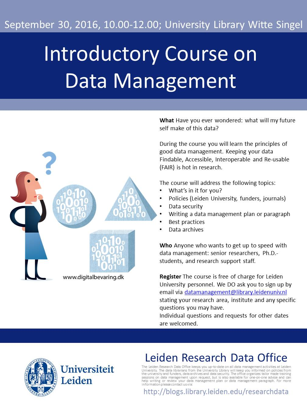 Introductory Course On Data Management Leiden Research Blog Security Courses Published 1 September 2016 At 1008 1344